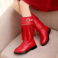 哆吡娃娃新款儿童鞋冬靴保暖单靴中筒马丁靴雪地靴女童靴子公主鞋