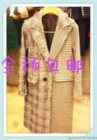 15韩国东大门代购中长款显瘦加厚毛呢大衣正品宽松千鸟格外套女