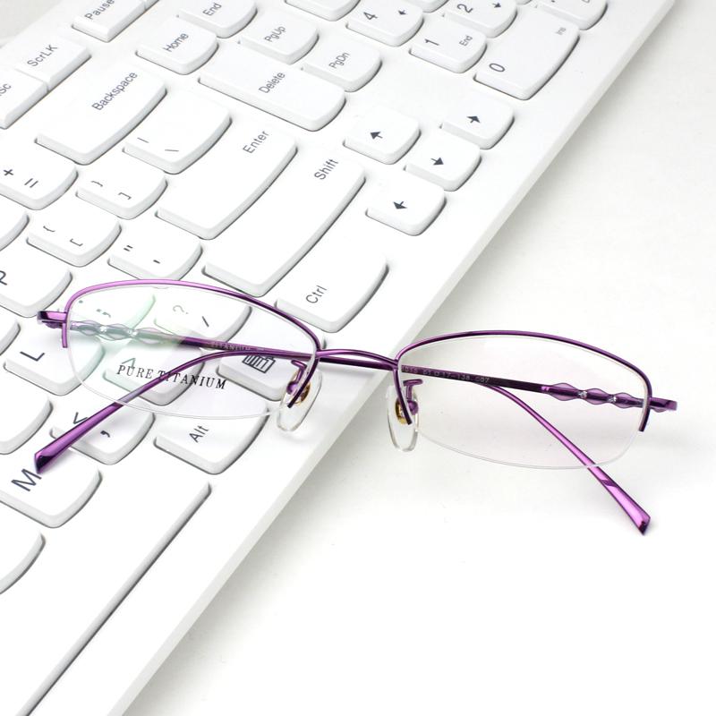 墨竹纯钛半框眼镜架可配近视眼镜成品 优雅圆脸近视眼镜女款超轻