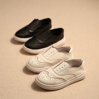 春季纯色黑色白单鞋平底儿童休闲皮鞋男童一脚蹬运动鞋单鞋宝宝鞋