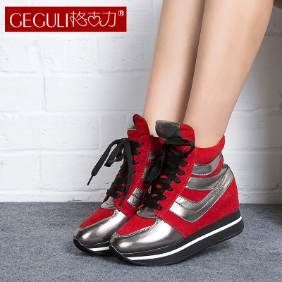 2014 increased slope with flat leather high-top shoes, heavy-bottomed boots sports shoes