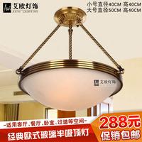 美式全铜半吊灯卧室灯门厅灯过道灯餐厅灯 吸顶灯欧式复古灯具
