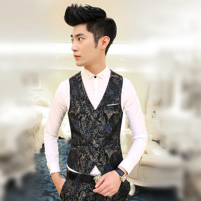 2014 new male Korean Slim suit vest vest stide British style floral waistcoat tide men's suits