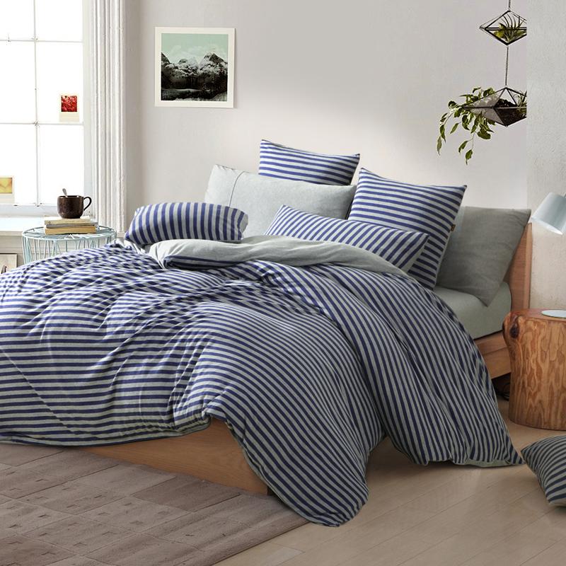 纯色天竺棉四件套纯棉日式针织全棉被套简约裸睡冬床笠水洗棉套件