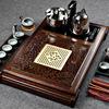 神雕鸡翅木实木茶盘家用整套功夫茶具四合一套装大茶海电磁炉茶台