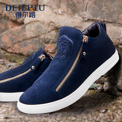 Seoul Road 2014 new autumn and winter fashion trend of men's casual shoes frosted wind Korean men's double zipper