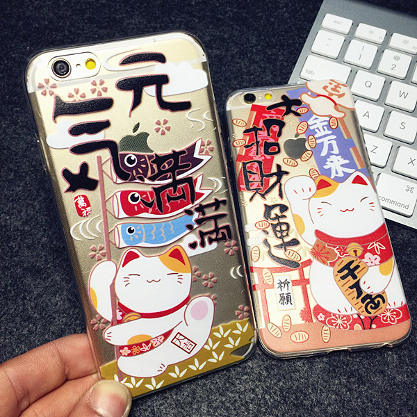 Popular Taiwan's latest ultra-thin transparent iphone6 plus 6 Lucky Cat phone sets Apple 5S shell
