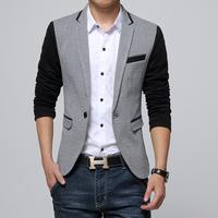 新款韩版西服时尚休闲拼接色韩版修身外套潮男大尺码小西服秋特价