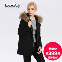 连帽毛呢外套中长款女2015秋冬新款加厚保暖女装欧美茧型羊毛大衣