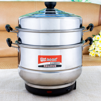 Three can be steamed soup can large capacity stainless steel electric steamer electric steamer pot cooking pot saving shipping