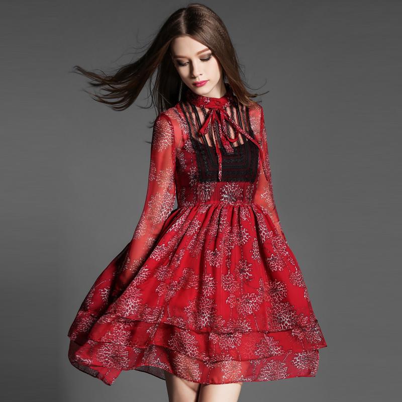 2016春夏装新款女装欧美高腰修身显瘦长袖印花蝴蝶结真丝连衣裙