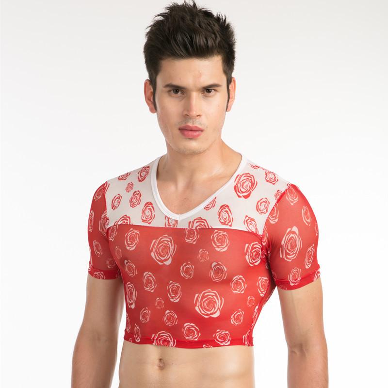 玫瑰性感透明网纱个性男士背心 情人节爱情镂空紧身健身内衣短袖