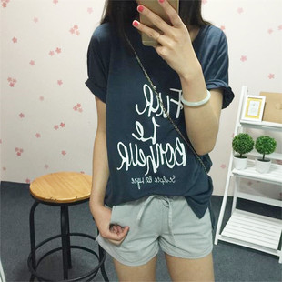 Korean short-sleeved T-shirt female summer loose big yards letters cartoon printed bamboo cotton short-sleeved shirt and long sections students