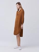 美国2017官方专柜代购新款DVF长袖翻领多扣不对称衬衫式连衣裙女