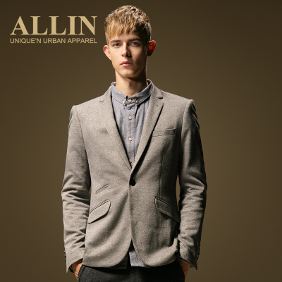 ALLIN Men's Fall 2014 new men light gray suit then west trend Slim leisure suit