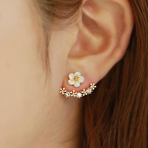 韩国代购耳钉新款后挂式耳钉耳环 S925纯银花朵耳钉女气质防过敏