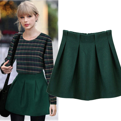 Mao mushroom small wild solid color skirts like street woolen skirt skirt 2014 autumn and winter new ladies