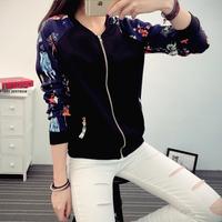 实拍秋季韩版短外套修身棒球服印花长袖卫衣休闲夹克衫 女 38023