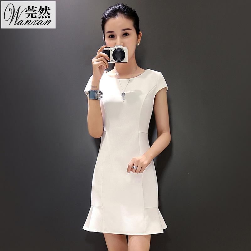 2016夏季新款韩版气质修身显瘦荷叶边包臀鱼尾短袖中长款连衣裙女