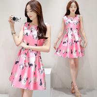 夏季新款欧根纱时尚无袖连衣裙韩版修身显瘦印花A字裙