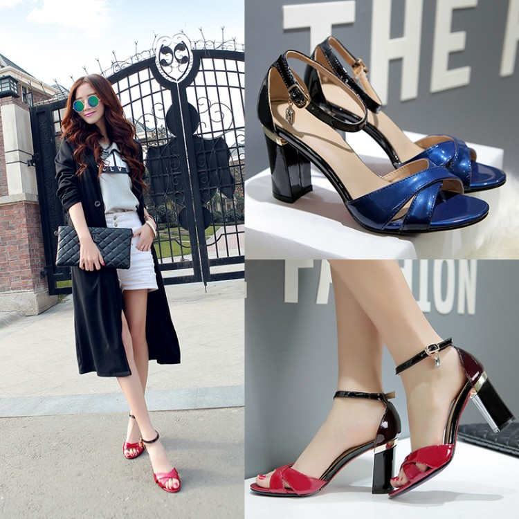 New fashion ankle strap metal thick high heel sandals