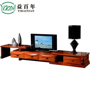 益百年 现代中式全实木卧室客厅地柜海棠木可伸缩电视柜2.3-3.3米