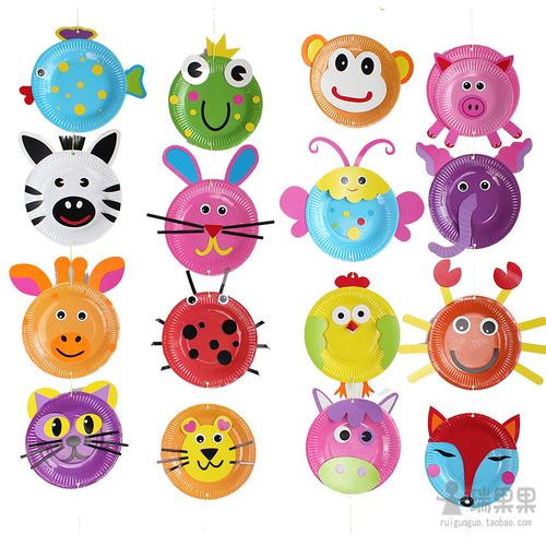 瑞果果纸盘动物材料包 幼儿园diy手工彩色盘子儿童手工粘贴吊饰