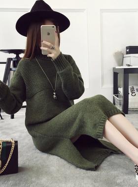 秋冬韩版宽松毛衣套头女中长款毛衣裙针织衫冬季高领加厚衣服外套