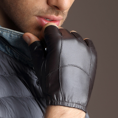 Mitch Ling leather gloves for men and a half finger gloves fingerless motorcycle gloves, sheepskin leather gloves men's fall and winter thin