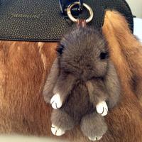 哥本哈根进口水貂毛兔子纯手工萌小兔子挂件皮草挂件配包汽车挂饰
