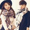 冬季男女士百搭简约长款大方巾格子围巾披肩情侣围脖学生英伦