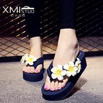 拖鞋女夏时尚防滑厚底坡跟人字拖2016新款韩版平底沙滩花朵凉拖鞋