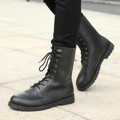 Yi is not enough wind in autumn and winter boots Korean male tide Martin boots tall canister boots warm cotton-padded shoes men's boots tide men