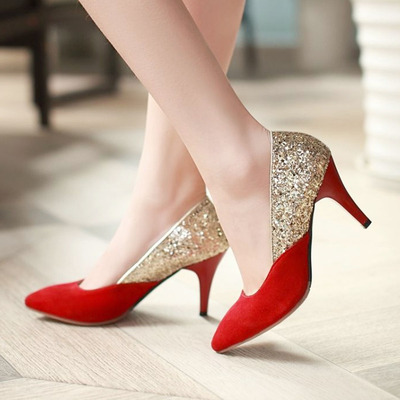 2014 bridal shoes Slipper Princess pointed gold sequined wedding shoes women fine with red high heels shallow mouth shoes