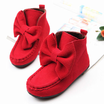 2014 autumn and winter new Korean girls big bow shoes leather short boots cotton boots suede snow boots