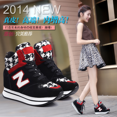 2014 warm winter shoes increased within the new high-top lace-up leather shoes flat shoes sneakers