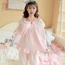 樱丝芳韩版法兰绒睡衣女S码秋冬季甜美公主保暖珊瑚绒家居服套装