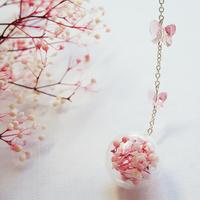 {落樱}玻璃球 真花干花 樱花粉渐变满天星 蝴蝶 树叶金属长链书签