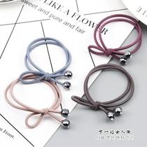 韩国双条打结发圈 银灰圆珠贴钻头绳 简约纯色小清新发绳耐用发饰