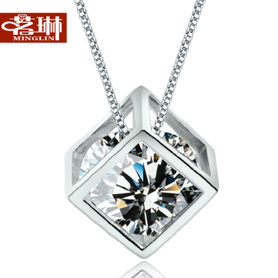 Swarovski Zircon pure 925 silver cube necklace female clavicle Accessories Korean version of Christmas