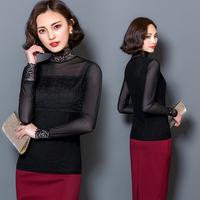 2016秋季新款纯黑色网纱T恤长袖修身显瘦韩版立领打底衫女蕾丝衫