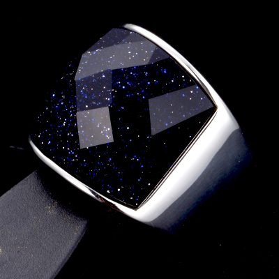 Men's fashion rings gemstone imports Wide domineering personality titanium steel ring single blue gravel birthday girl