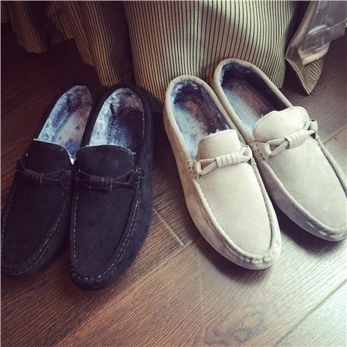 原创居家鞋冬季保暖男士时尚豆豆鞋纯色简约加绒保暖一脚蹬男棉鞋