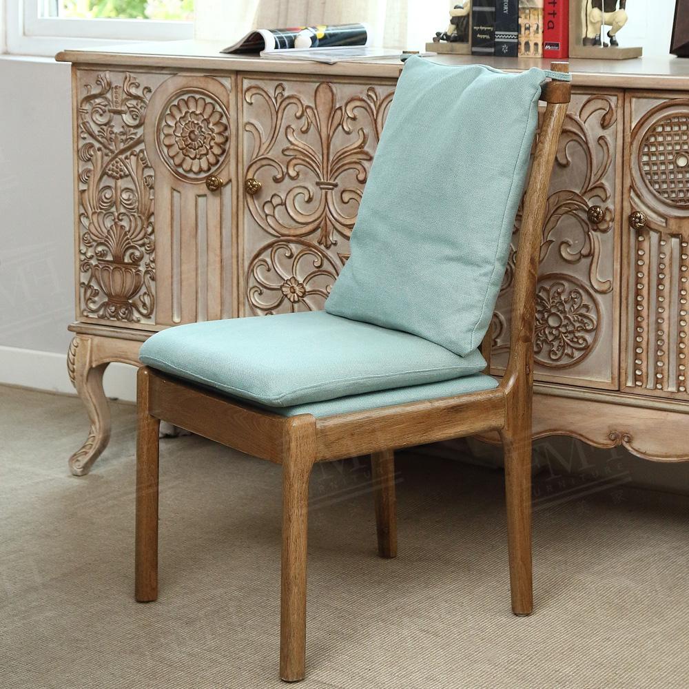 乡村色书_美式法式韩式乡村田园 实木原木色 棉麻布艺可拆洗 靠背餐椅书椅