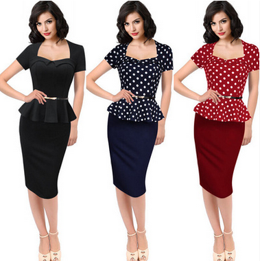 Womens Elegant Vintage Peplum Business Casual Party Dress ol