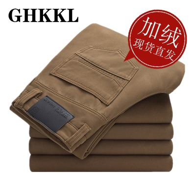 ghkkl winter pants men men men's winter casual pants plus thick velvet pants big yards straight Slim Business 2014