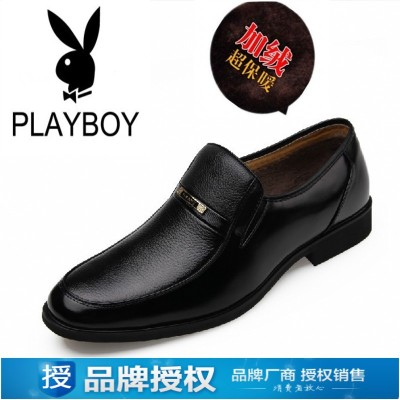 Genuine Playboy male cotton-padded shoes warm winter plus velvet round tip of England business suits leather wedding shoes