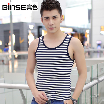2014 summer new Korean men's skinny black and white striped shirt, striped t-shirt men bottoming sleeveless undershirt tide