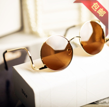 The new luxury restoring ancient ways Its leg radian design exaggerated vintage full metal round glasses sunglasses
