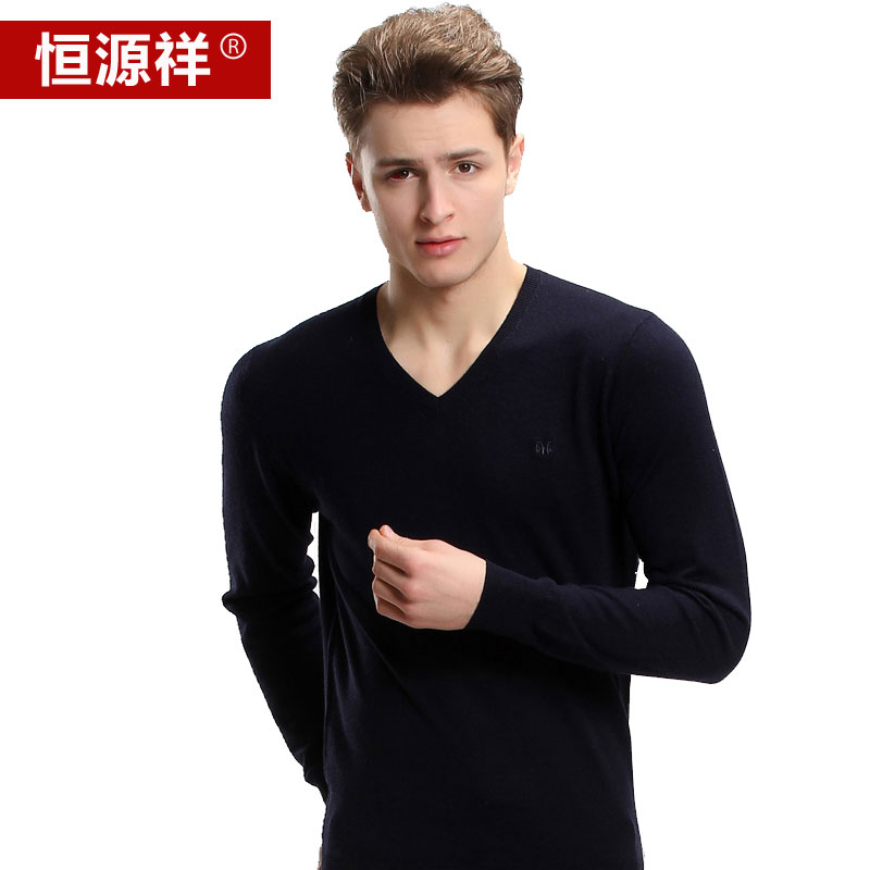Heng yuan men sweater knit line of men's shirt long sleeve new thin sweater v-neck sweater